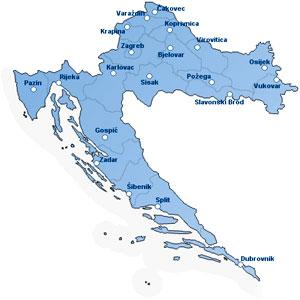 Хорватия .Ru - Посмотреть карту Хорватии - города Загреб, Дубровник,  Истрия и др.